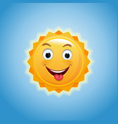 Cheerful anthropomorphic sun vector