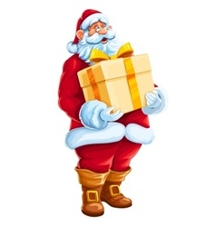 Christmas Santa Claus big gift vector