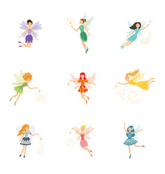 colorful set cute girly fairies with magic vector image