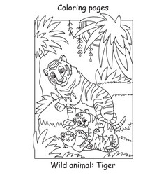 coloring tiger vector image