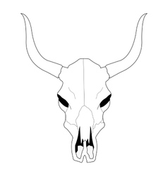 Cow skull with horns Contour vector