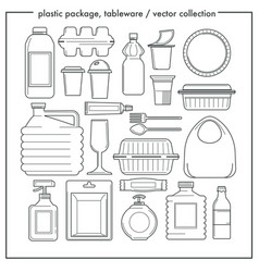 Disposable tableware and plastic packaging vector