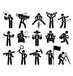Entrepreneur businessman doing various activities vector