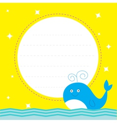 Frame with cute cartoon whale and sparkles card vector