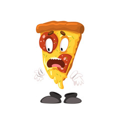 frightened slice of pizza funny cartoon fast food vector image