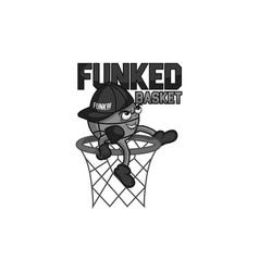 funked ball mascot gray colors vector image