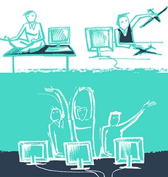 Funny office life Sketch style vector image