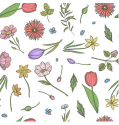 hand drawn flowers pattern or background vector image