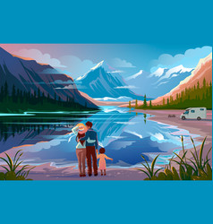 Happy family standing near lake looking away vector