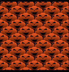 happy halloween smiling pumpkin seamless pattern vector image