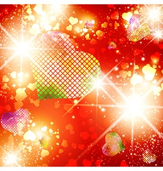 Heart StValentine Day Bright Disco Background vector image