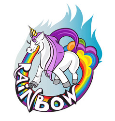 i believe in unicorns horse with horn drink tea vector image