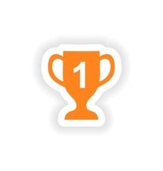 Icon sticker realistic design on paper cup winner vector