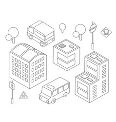 isometric bus urban infrastructure cars and buses vector image