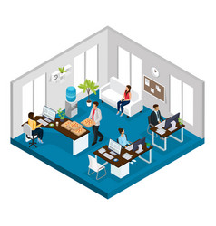 Isometric support service office concept vector