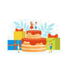 kids celebrating birthday cute tiny boy and girl vector image