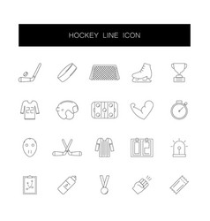 line icons set hockey pack vector image