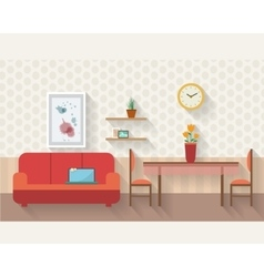 Living room and dining room with furniture vector