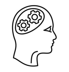 Logic brain icon outline style vector