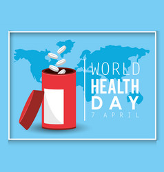 Medicine drugs to world health day vector