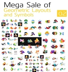 Mega collection of abstract symbols vector image