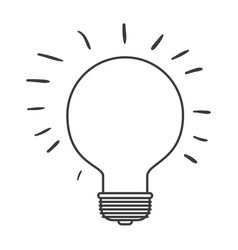 Monochrome silhouette of light bulb idea icon vector