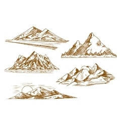 Mountain landscapes symbols with river and forest vector image
