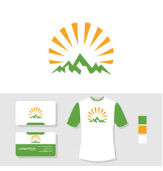 mountain logo design with business card and t vector image