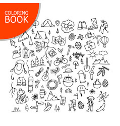 Mountain tourism set coloring page design vector