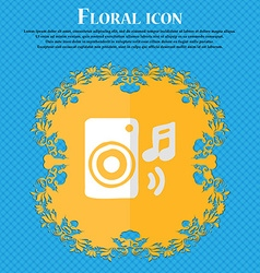 music column disco music melody speaker Floral vector image