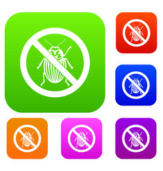 No potato beetle sign set collection vector