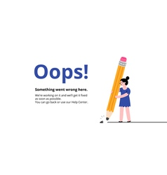 Oops broken pencil page vector
