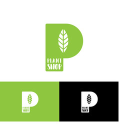 p monogram with leaf logo green letter vector image