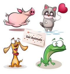 pig raccoon dog frog - set animals vector image