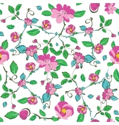 Pink Blue Green Flowers Leaves Seamless vector image