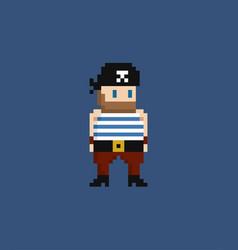 pixel art - 8 bit pirate in vector image