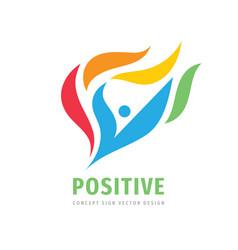 positive concept logo design abstract human vector image