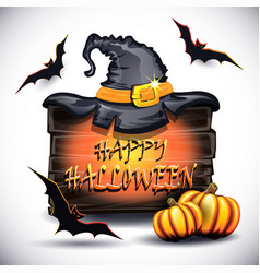 pumpkins hat on the board and bats vector image vector image