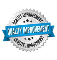 Quality improvement round isolated silver badge vector