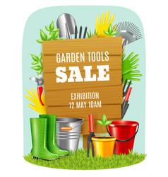 Realistic garden tools poster vector