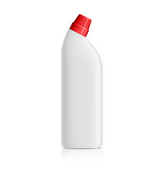 Realistic white plastic bottle for toilet vector