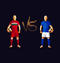 red and dark blue soccer players holding vintage vector image