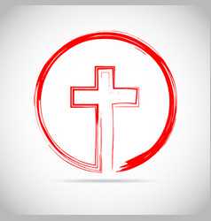 red christian cross icon vector image