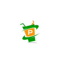 restaurant drink initial p vector image