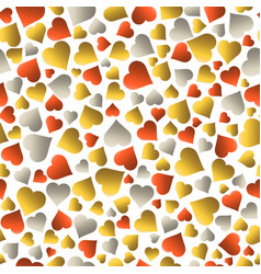 seamless valentines pattern with golden and red vector image