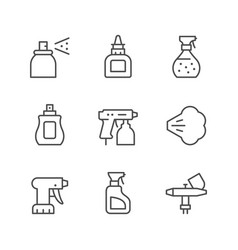 Set line icons spray vector