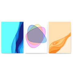 set of abstract paper cut design with multi layers vector image
