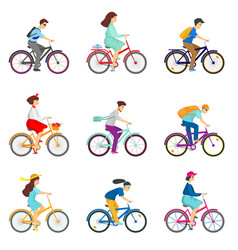Set of bicycle cyclists riding bikes isolated on vector