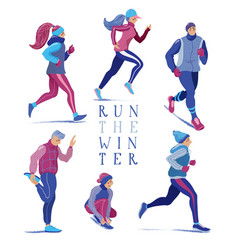 set of men and women running jogging in winter vector image