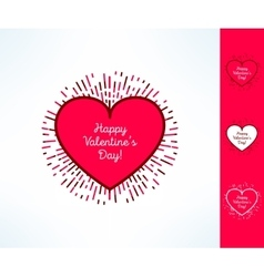Set of valentines hearts on tribal outburst vector